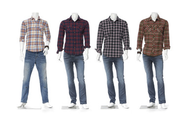 male mannequin dressed in jeans with in cotton plaid shirt