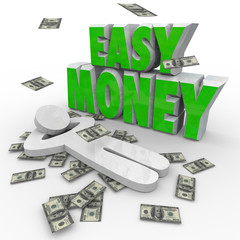 Easy Money Person Relaxing Dollars Falling From Sky