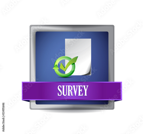 Survey glossy blue button illustration design