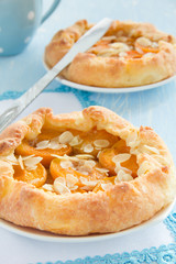 Homemade pie with apricots and almonds.