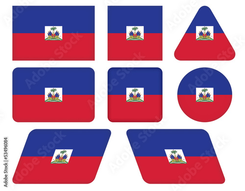 set of buttons with flag of Haiti