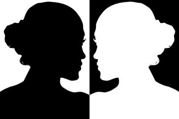 silhouette de jeune fille, positif / négatif