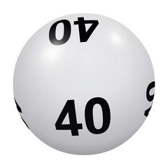 Loto, boule blanche numéro 40
