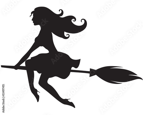 Glamour witch on a broomstick
