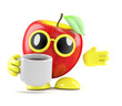 3d Apple drinks a cup of coffee