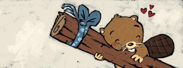 castor con madera