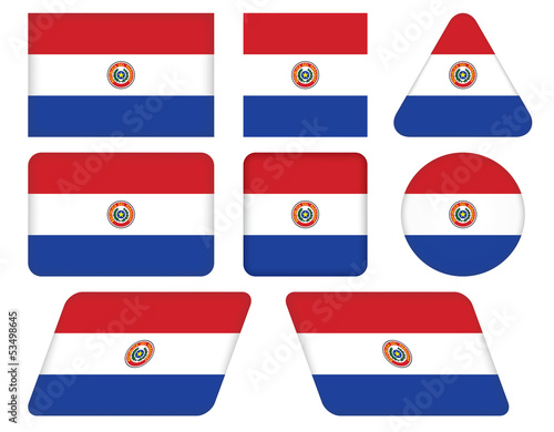 set of buttons with flag of Paraguay