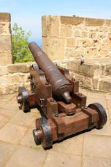 Spain, San Sebastian. Ancient gun at Fortress de la Мота.