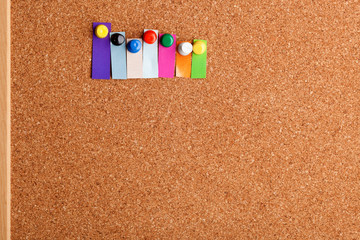 Cork board and colorful heading for seven letter word