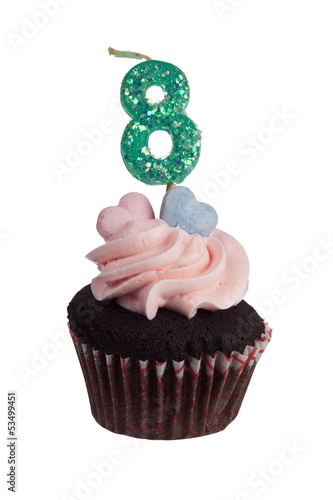 Mini cupcake with number eight candle