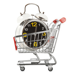 Shopping cart with alarm clock