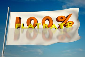 100& Flatrate auf einer wehenden Fahne - 3D