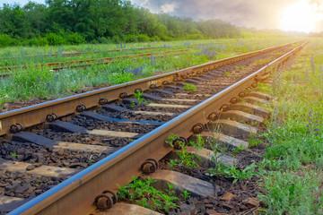 railway in a rays of sun