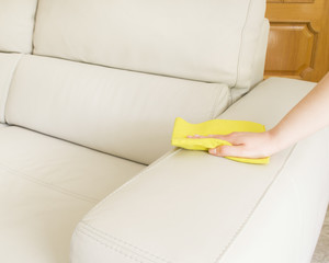 women cleaning a sofa with cloth