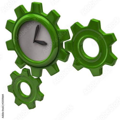 Green clock and gears