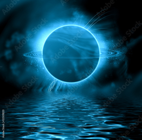 Fantasy planet reflected in water surface. Space background.