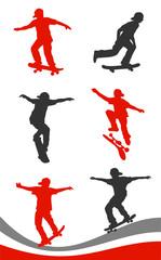 Skater Silhouetten, Set, Vektorfreisteller