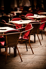 Chairs in  outdoor restaurant