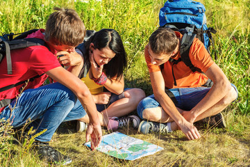 Hikers watching the map