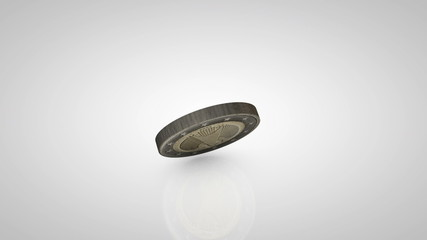 CG Spinning coin isolated on white
