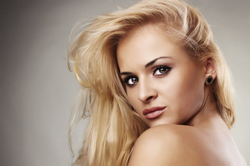 Portrait of beautiful blond woman. your text here