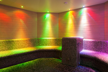 LED illuminated steam bad with mosaic tiles