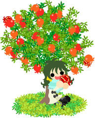 A girl eating a pomegranate under the tree.