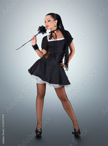 Glamorous pinup stylish maid with black rose