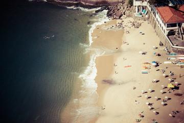 Aerial view of Urca beach and homes, Rio de Janeiro, Brasil.