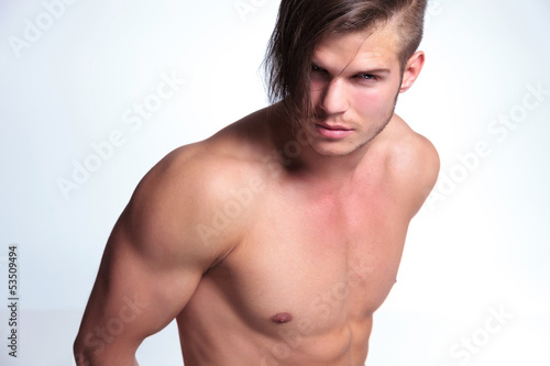 topless young man with superb body