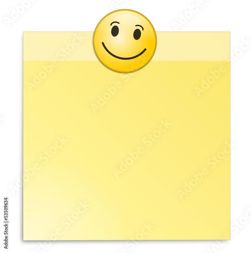 Zettel gelb mit Smiley