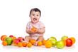 baby girl eating fruits