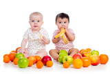 babies eating fruits