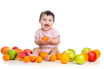 baby girl eating fruits