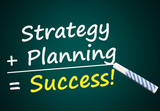 Strategy + Planning = Success (blackboard with words)
