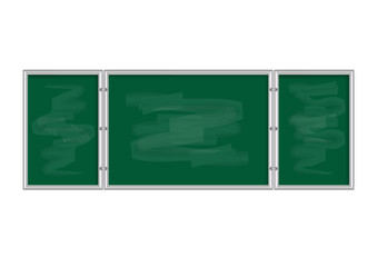 Tableau vert avec entourage métallique et effet d'effacement