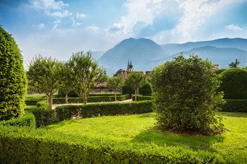Lovely Italian Landscape with mountains and church towers