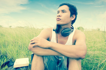 Man Listening Music Series,Feel The Nature,Dramatic Look