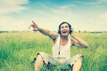 Man Listening Music Series,Scream For The Nature,Dramatic Look