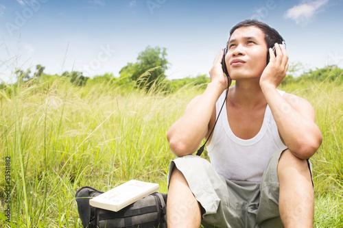 Man Listening Music Series