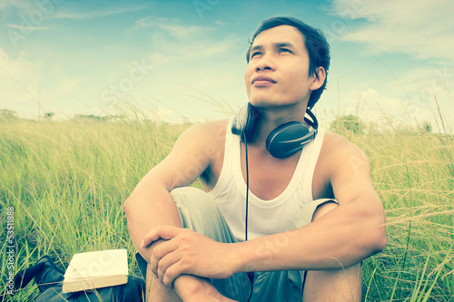 Man Listening Music Series,Feel The Nature Part 2,Dramatic Look