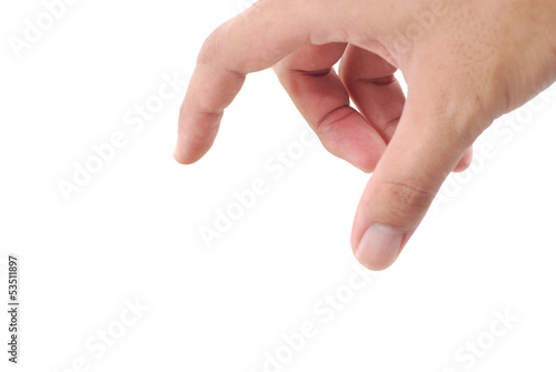 Male hand pointing selection on white background