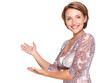 Portrait of adult happy woman with presentation gesture