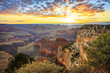 Horizontal view of famous Grand Canyon at sunrise