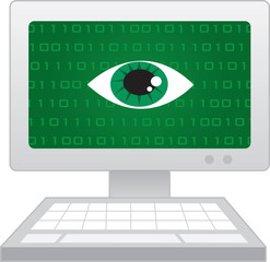 Isolated computer with large eye spying
