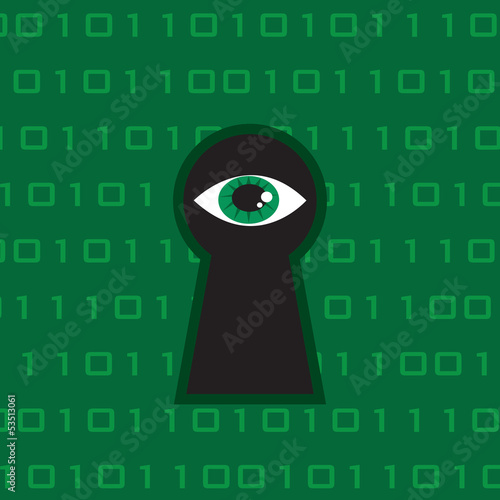 Eye looking through large keyhole with tech background