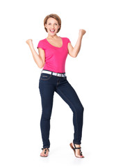 Beautiful happy woman celebrating success  being a winner