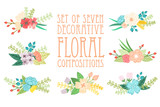 Set of 7 floral compositions