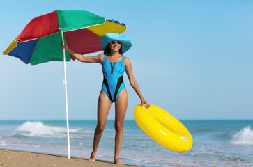 beauty woman on sea beach