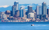 Seattle Motorboat Puget Sound Cascade Mountains Washington